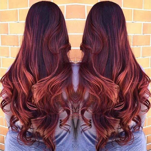 Dark Hair Color With Color Highlights