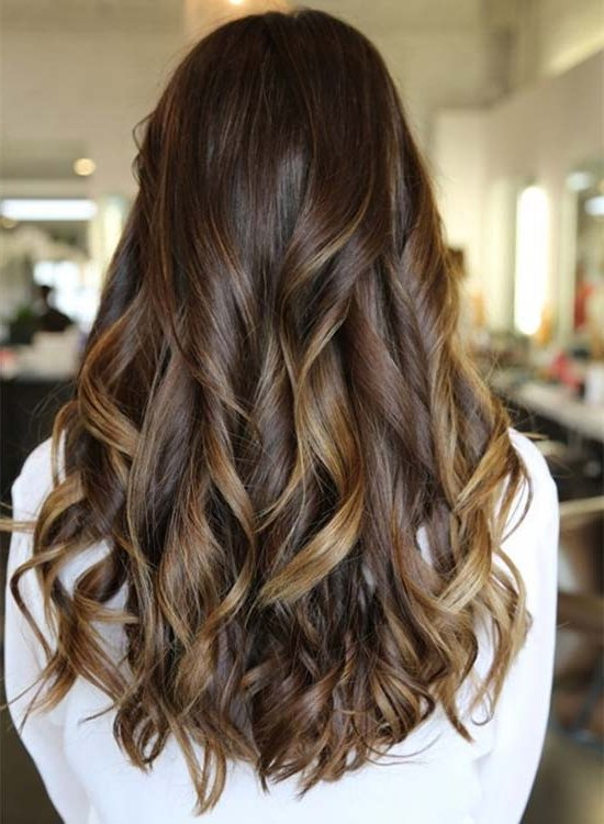 Chocolate brown hair with light brown highlights